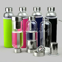 BPA Free Glass Sport Water Bottle with Tea Filter Infuser Protective Bag 550ml Fruit Eco-Friendly