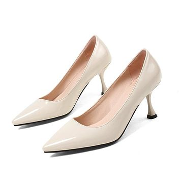 Pointed Toe Patent Leather High Heel Pumps Shoes Woman 9935