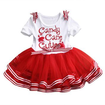 Christmas Newborn Baby Girl Party Tutu Tulle Dress Christmas Short Sleeve Candy Cane Dress Xmas Kid Clothing