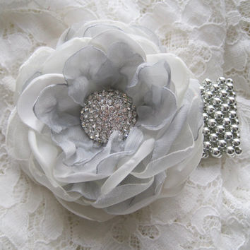 Corsage Bracelet Ivory and Light Silver Grey Chiffon Choose Your Style Bracelet Mother of Bride Bridal Shower Prom with Rhinestone Accents.