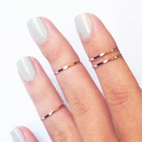 4 Above the Knuckle Rings - rose gold plated thin shiny ring - set of 4 stack midi rings
