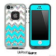 Turquoise, White and Colorful Dotted Chevron Pattern Skin for the iPhone 5 or 4/4s LifeProof Case