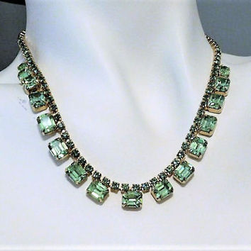 WEISS Vaseline Glass Rhinestone Necklace Choker Bib Green Uranium Glass 1950s 50s Mid Century Wedding Bride Bridal Vintage Designer Jewelry