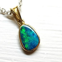 dainty opal necklace solid 14k gold, black opal pendant gold, Australian opal pendant small, unique opal necklace, October birthstone gift