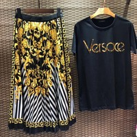 Versace Women Short Sleeve Top Letter Print Skirt Two-Piece