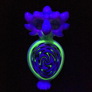 SHIPS TODAY!! Slyme Illuminati Double Bowl Owl with Blacklight Reversal Glass Pipe