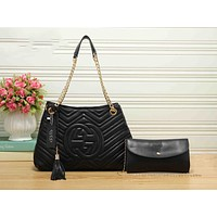 Gucci New Fashion Women Leather Tote Handbag Shoulder Bag Set Two Piece Black I-RF-PJ
