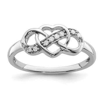 Sterling Silver Genuine Diamond Infinity Heart Ring
