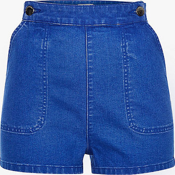 Bright blue high waisted Molly button shorts - denim shorts - shorts - women