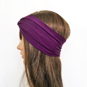 Purple Turban Headband, , Stretch Turban, Headwrap, Twist Headband, Stretch Jersey Headband