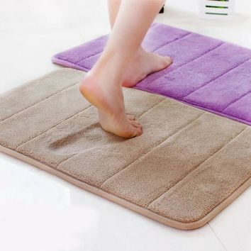 Bath Mat Coral Velvet Memory Foam Non-Slip Bathroom mat Carpet Solid Multi-color Vertical Stripes Living Room Rug kitchen mat