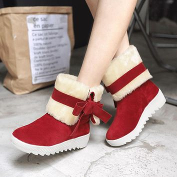 Scrub Pure color Bow Tie Slope Heel Round Toe Short Snow Boots