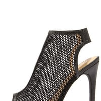 Game Plan Black Mesh Peep Toe Booties