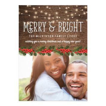 Rustic Country Photo Christmas Holiday Card