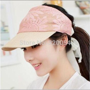 PEAP78W 1 pcs 2015 New Summer Two Use Empty Sun Hat For Women Fashion Beach Cotton cap 5 ColorsFree Shipping