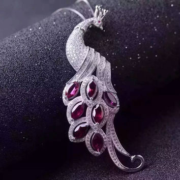 natural red garnet stone pendant S925 silver Natural gemstone Pendant Necklace trendy luxurious Long peacock women girl jewelry