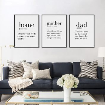 3pcs Modern Abstract Minimalist Black White Home Mother Quotes Canvas A4 Art Print Poster Wall Pictures Home Decor Painting No F