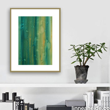 Large Watercolor Painting - original abstract fine art - abstract expressionism - blue green gold - vertical stripes - botany