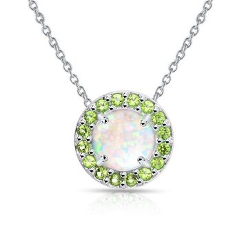 Round Halo Simulated White Opal & Peridot Necklace in Sterling Silver