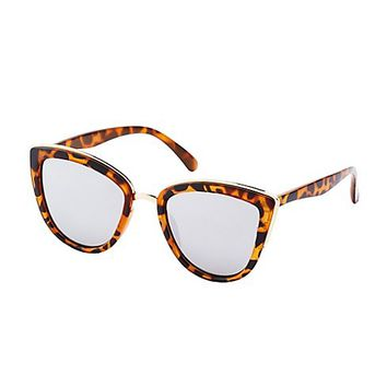 Tortoise Shell Gold-Trim Sunglasses