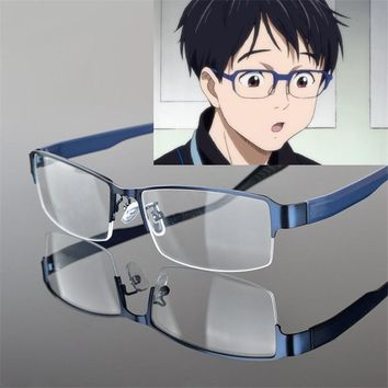 Takerlama Anime Cosplay YURI!!! On Ice Katsuki Yuri Blue Eyewear Glasses with Lens Cosplay Props