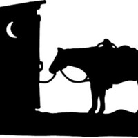 Outhouse with Trail Riding Western Horse Decal Vinyl Trailer Mirror Window Truck Car Vehicle - Large 10 Inch