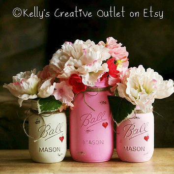 Pretty In Pink-Shabby-Hand Painted Mason Jar-Vase-Mother's Day-Easter-Wedding Centerpieces-Baby Shower