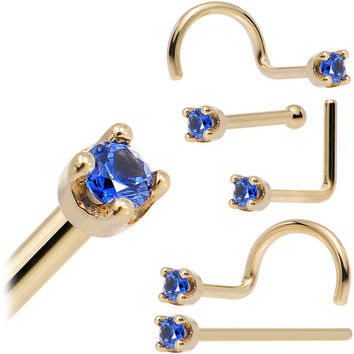 Solid 14KT Yellow Gold (September) 1.5mm Genuine Blue Sapphire Nose Ring