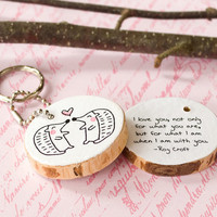 Wood Quote Keychain Hedgehog Animal Wooden Key Chain Ring Black White Cute Illustration Drawing Love Couple Eco Friendly Reclaimed Wood Tree