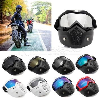 ac NOOW2 Modular Mask Flexible Goggles Glasses Mouth Filter Anti Dust Sand Wind for Open Face Motorcycle Half Helmet or Vintage Helmets
