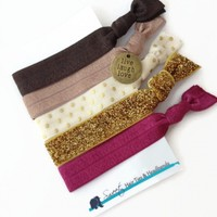 Brown & Gold Chevron Hair Ties with Charm