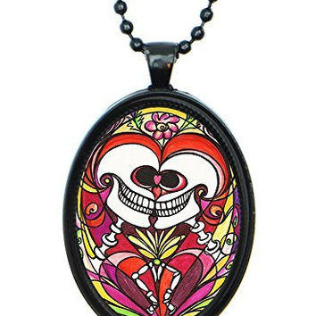 Soulmate Love Skulls Huge 30x40mm Black Pendant with Chain Necklace