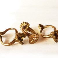 Set of 20 Vintage Brass Rings Clips for Curtains by LaLoupiote