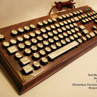"Steampunk Victorian ""Vicar"" Keyboard in Red Mahogany by Datamancer"