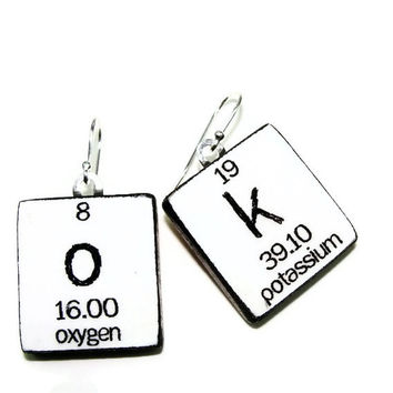 Chemistry Earrings Periodic Table Science Jewelry - White OK