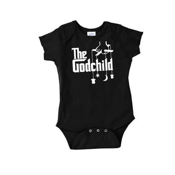 "The Godchild cute parody on ""The Godfather"" baby onepiece gift mom dad bodysuit newborn body suit crawler romper t shirt tshirt 2t 3t onesi"