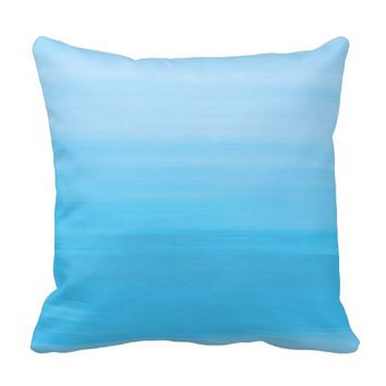 Shades of pastel blue ocean in horizontal stripes throw pillows