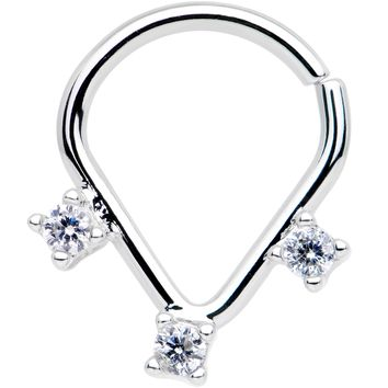 Clear CZ Gem Triplet Ellipse Septum Ring