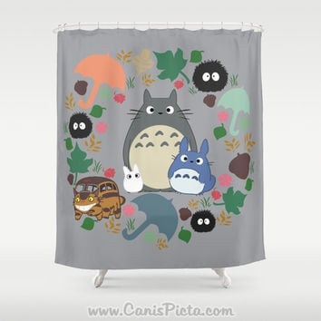 "Totoro Kawaii My Neighbor Shower Curtain 71"" x 74"" Anime Decorative Soot Catbus Grey Blue White Manga Troll Hayao Miyazaki Studio Ghibli"