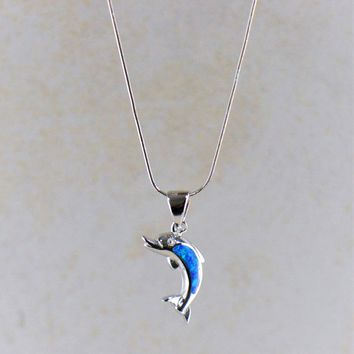 Blue Fire Opal Dolphin Pendant Necklace in Sterling Silver