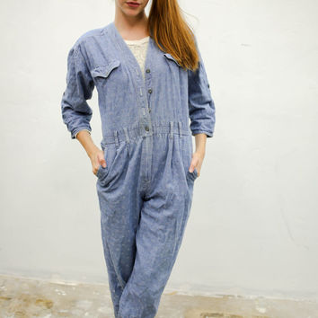 vtg 90's 80's blue textured jumpsuit, grey denim floral romper 1990s 1980s, vintage Onesuit, tumblr soft grunge vaporwave aesthetic fashion