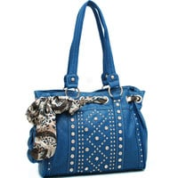 Safari Scarf Looped Rhinestone Studded Shoulder Bag - Blue Color: Blue
