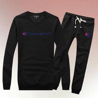 One-nice™ Champion Woman Men Long Sleeve Shirt Top Tee Pants Trousers Set Two-Piece Sportswear