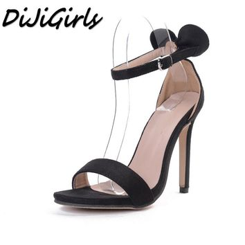 DiJiGirls summer New Sexy Open toe women's high heels shoes woman Butterfly-knot stilettos pumps ankle strap buckle sandals
