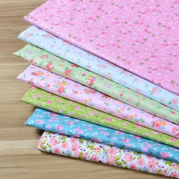 100% cotton fabric 40cmx50cm flower designs 7 pcs / lot quilting patchwork crafts baby sewing clothes bedding home textile