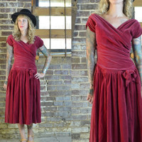 Vintage 1940's Velvet Fuschia Evening Cocktail Dress