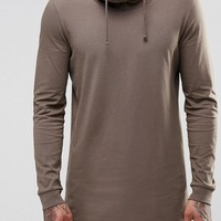 ASOS Longline Long Sleeve T-Shirt With Double Layer Funnel Neck