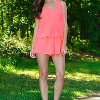 Sweet As Candy Romper-Hot Coral