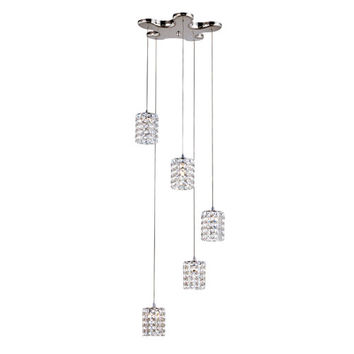 Trans Globe Lighting MDN-1131 Polished Chrome 5 Light Cube Drop Crystal Pendant with Round Clear Crystal Insets