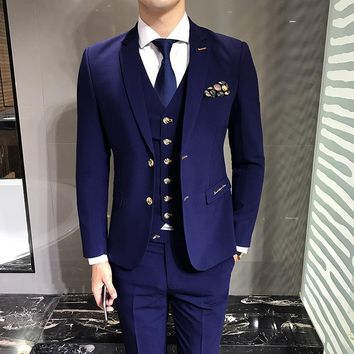 LEFT ROM Blue Men's Suits Jackets + Vests + Suit Pants S M L 3XL Fashion Business Wedding Banquet Gentleman Elegant Clothing